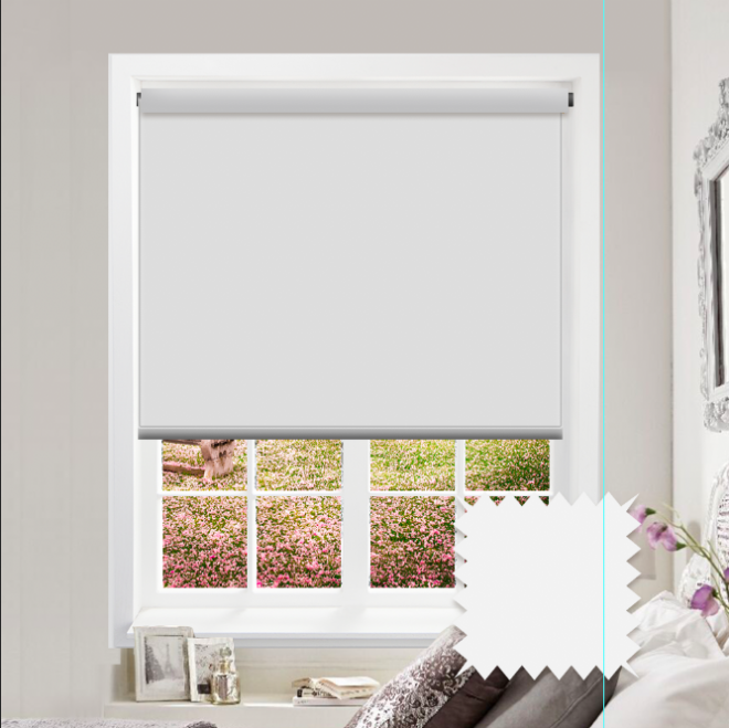 White Roller Blind - Bahamas Reflective White Plain - Just Blinds